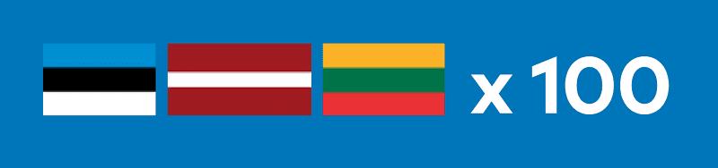 Viro, Latvia, Liettua x 100