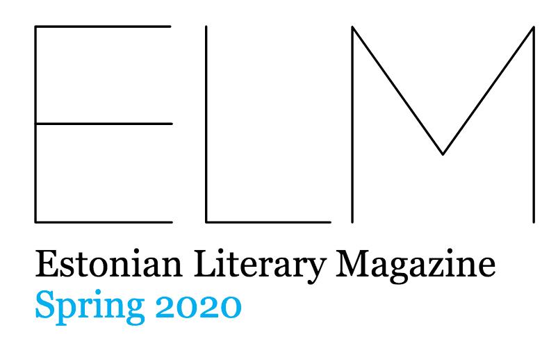 ELM lehden kannen yläosa, jossa isolla kirjaimet ELM ja pienellä Estonian Literary Magazine ja Spring 2020.