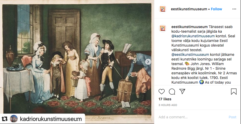 Kuvakaappaus Eestikunstimuuseumin instagram-tililtä. Vasemmalla taulu, jossa ihmisiä kotona 1700-luvulla, oikealla tekstikuvaus.