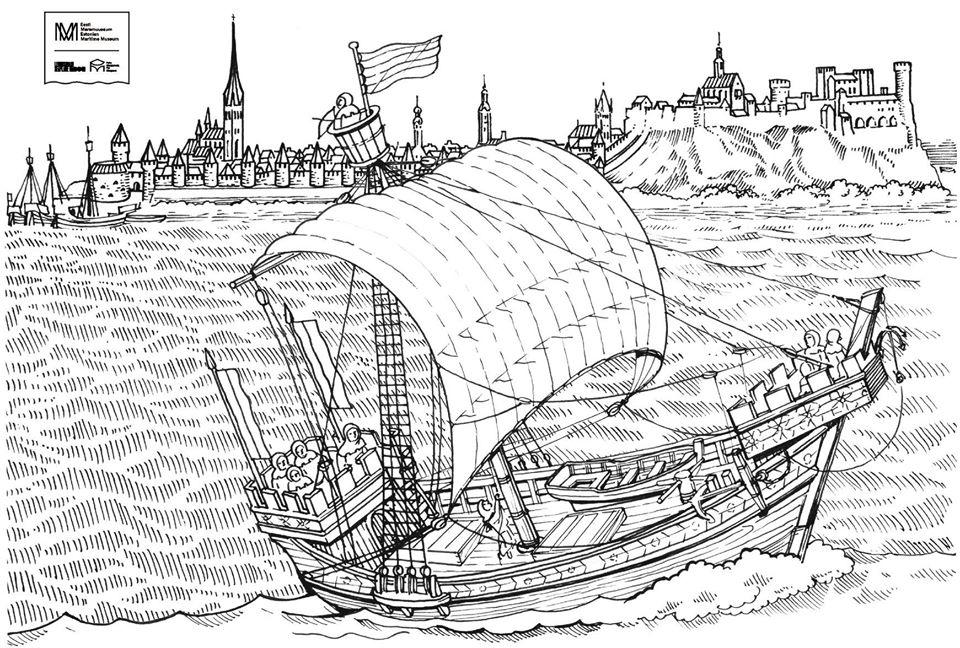 Mustavalkoinen piirros, jossa edustalla vanhanaikanen laiva purjeen kanssa. Taustalla kaupunkimaisema.